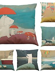 Set of 6 Cute Bear Pattern Linen Pillowcase Sofa Home Decor Cushion Cover  Throw Pillow Case (18*18inch)