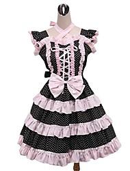 Uma-Peça/Vestidos Doce Rococo Cosplay Vestidos Lolita Pontos Polka Sem Manga Longuete Vestido Anágua Para Tecido Alcochoado