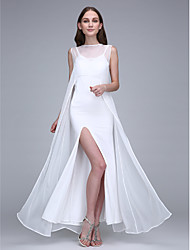 LAN TING BRIDE Ankle-length Bateau Bridesmaid Dress - Open Back Sleeveless Chiffon Jersey