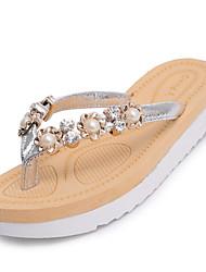 Women's Slippers & Flip-Flops Walking Comfort Slouch boots PU Summer Casual Pearl Flat Heel Black Silver Flat