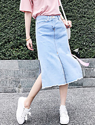 Women's High Waist Midi Skirts Street chic Bodycon Denim Split Tassel Patchwork Color Block