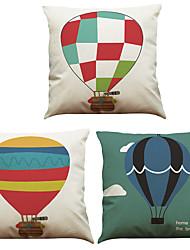 Set of 3 Hot Air Balloon  Pattern  Linen Pillowcase Sofa Home Decor Cushion Cover
