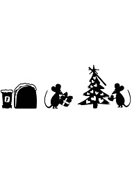 Wall Stickers Wall Decals Style Cartoon Mouse Christmas Tree PVC Wall Stickers