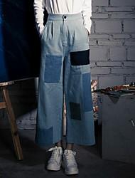Women's High Rise Micro-elastic Jeans Pants,Bohemian Style Bootcut Color Block