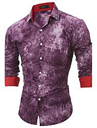 Men's All Seasons Fashion Print Slim Fit Long Sleeve Casual Shirt Cotton Polyester Medium
