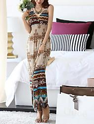 Gaine Robe Femme Plage Vacances Vintage Bohème,Imprimé A Bretelles Maxi Sans Manches Polyester Eté Taille Haute Micro-élastique Fin
