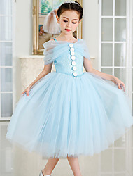 Ball Gown Tea-length Flower Girl Dress - Satin Tulle Spaghetti Straps with Buttons