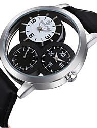 SKONE Мужской Модные часы Японский Кварцевый С двумя часовыми поясами Кожа Группа Черный Коричневый