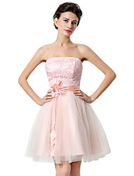 A-Line Strapless Short / Mini Tulle Cocktail Party Homecoming Dress with Flower(s)