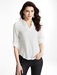 Women's Solid Blue / White Blouse,V Neck Long Sleeve