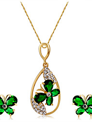 Earrings Set Necklace Pendants Crystal Euramerican Fashion Crystal Rhinestone Alloy Butterfly 1 Necklace 1 Pair of Earrings ForWedding