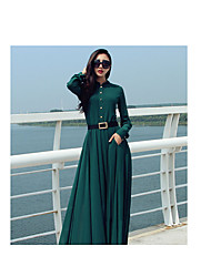 2016 Spring European and American big-name high-end retro temperament long-sleeved dress length skirt large size women