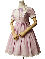One-Piece/Dress Sweet Lolita Rococo Cosplay Lolita Dress Solid Short Sleeves Knee-length Dress For Cotton