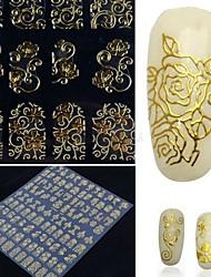 108 autocollants d'une feuille d'or 3d flower nail art