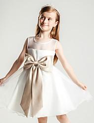 Princesse genou longueur robe fille fleur - Organza satin sans manches cravate avec ruban