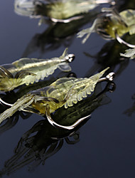 """10 pc Esche morbide Ami da pesca Esca Esche morbide Jerkbaits Gamberi / Gamberetto Giallo Trasparente g/Oncia,68 mm/2-1/8"""" 2-11/16"""""""