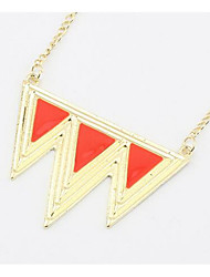 Punk Exaggerated Waves Triangle Retro Geometric Necklace Euramerican Long Choker Pendant Sweater Chain Necklace Women Office Lady Jewelry