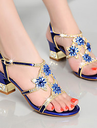 Damen Sandalen Club-Schuhe Nappaleder Sommer Normal Kleid Party & Festivität Club-Schuhe Strass Blockabsatz Gold Purpur Blau 5 - 7 cm