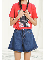 Women's High Rise Micro-elastic Jeans Shorts Pants,Simple Loose Wide Leg Solid