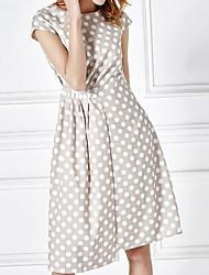 Women's Casual/Daily Loose Dress,Polka Dot Round Neck Knee-length Short Sleeve Cotton Spring Mid Rise Micro-elastic Medium