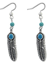 Euramerican Vintage Personalized Delicate Chrome Fashion Lovely Feather Earrings Lady Daily Movie Jewelry