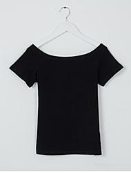 Tee-shirt Femme,Couleur Pleine Plage Décontracté / Quotidien simple Manches Courtes Col Arrondi Coton