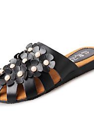 Women's Slippers & Flip-Flops Summer Slingback Leatherette Dress Casual Flat Heel Applique Flower Black White Walking