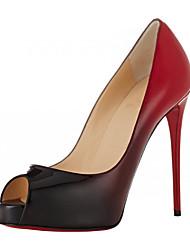 Красно-черный-Для женщин-Свадьба Для прогулок Для праздника Повседневный Для вечеринки / ужина-Лакированная кожа-На шпильке-Удобная обувь