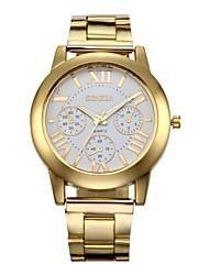 Mulheres Relógio de Moda Quartzo Cronógrafo Aço Inoxidável Banda Dourada