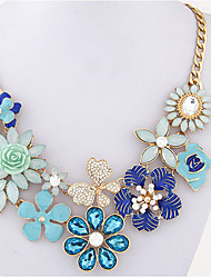 Women's Statement Necklaces Imitation Pearl Flower Imitation Diamond Alloy Unique Design Dangling Style Floral Fashion Bohemian Jewelry