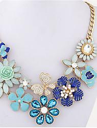 Жен. Заявление ожерелья Искусственный жемчуг В форме цветка Искусственный бриллиант СплавУникальный дизайн В виде подвески Цветочный