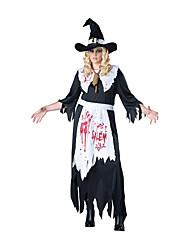 Costumes de Cosplay Sorcier/Sorcière Fête / Célébration Déguisement d'Halloween Autres Tabliers Robe Chapeau Halloween FémininElasthanne