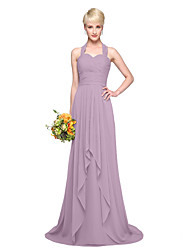 A-Line Halter Floor Length Chiffon Bridesmaid Dress with Pleats by LAN TING BRIDE®