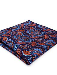 CH13 Classic Mens Pocket Square Handkerchiefs Blue Orange Paisley 100% Silk Unique Fashion Dress Casual