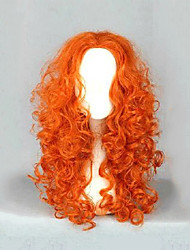 Lolita Kinky Curly Long Hair Costume Cosplay Anime Brave Merida  Party Orange Yellow Wig
