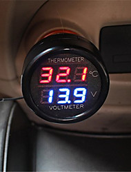 CS-302 Car Voltmeter and Thermometer - RED  BLUE LIGHT 1