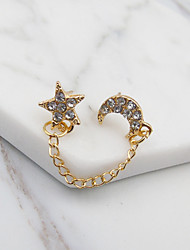 Stud Earrings Rhinestone Euramerican Fashion Alloy Round Star Moon Gold Jewelry For Party Daily 1 piece