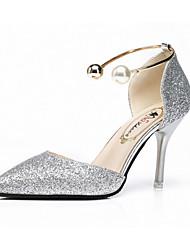 Для женщин Сандалии Удобная обувь Полиуретан Лето Для прогулок Для прогулок На шпильке Золотой Черный Серебряный Менее 2,5 см