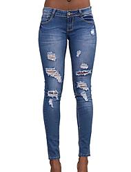 Damen Mittlere Hüfthöhe Jeans Skinny Hose einfarbig