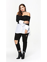 Tee-shirt Femme,Damier Décontracté / Quotidien Sexy ½ Manches Epaules Dénudées Coton