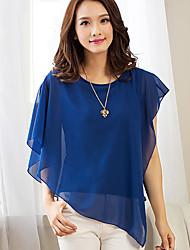 Women's Casual Sexy Summer Irregular Blouse Chiffon Shirt Solid Color Round Neck Short Sleeve Bat Shirt