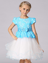 Ball Gown Short / Mini Flower Girl Dress - Lace Satin Tulle Short Sleeve Jewel with Bow(s) Lace Sash / Ribbon
