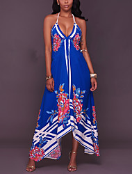 Women's Going out Beach Holiday Sexy Vintage Boho Backless Slim Sheath Swing DressFloral Halter Maxi Asymmetrical Sleeveless Spring Summer
