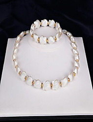 Nuptiales Parures Perle imitée Imitation de perle Mode Perle Coquillage Bijoux Blanc 1 Collier 1 Paire de Boucles d'Oreille 1 Bracelet