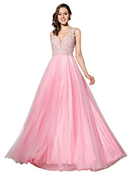Formal Evening Dress Ball Gown V-neck Floor-length Tulle with Beading