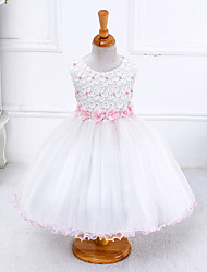Robe de Soirée Mi-long Robe de Demoiselle d'Honneur Fille - Polyester Satin Tulle Bijoux avecNoeud(s) Fleur(s) Détail Perle Ceinture /