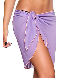 Women's Low Rise Beach Holiday Asymmetrical See-through SkirtsSexy Simple Bodycon Chiffon Pleated Bow Solid Spring Summer