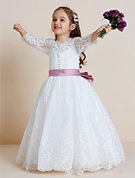 Ball Gown Floor-length Flower Girl Dress - Lace Tulle V-neck with Appliques Bow(s) Lace Sash / Ribbon