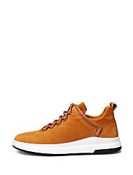 Men's Sneakers Summer Fall Comfort Light Soles Suede Outdoor Casual Flat Heel Lace-up Earth Yellow Gray Black Walking