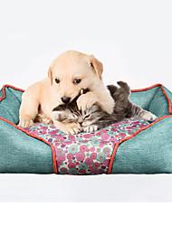 Cat Dog Bed Pet Mats & Pads Soft Flower Pattern Blue Red